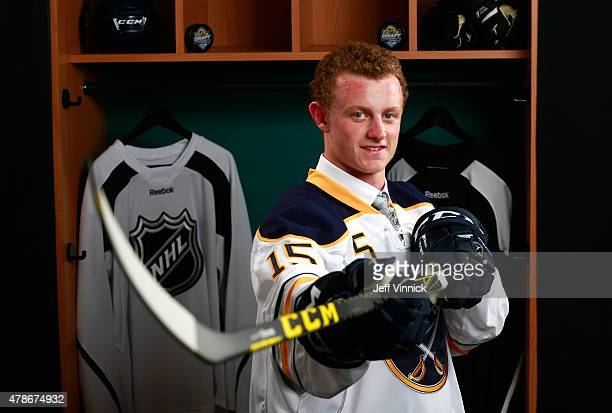 Jack Eichel poses for a portrait after being selected second overall by the Buffalo Sabres during Round One of the 2015 NHL Draft at BBT Center on...
