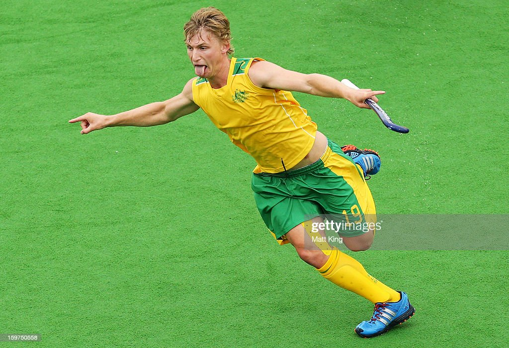 Jack Elliot of Australia celebrates scoring a goal in the Gold Medal match against Great Britain during day five of the Australian Youth Olympic Festival at Sydney Olympic Park Hockey Centre on January 20, 2013 in Sydney, Australia.