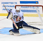 Jack Finn of the Mississauga Steelheads makes a save against the Flint Firebirds during OHL game action on October 4 2015 at the Hershey Centre in...