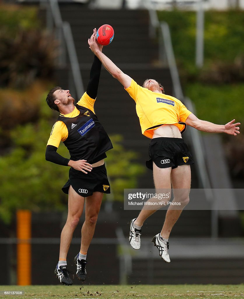 Jack Fitzpatrick (left) and Ben McEvoy of the Hawks in action during a Hawthorn Hawks AFL press conference and training session at Waverley Park on January 20, 2017 in Melbourne, Australia.