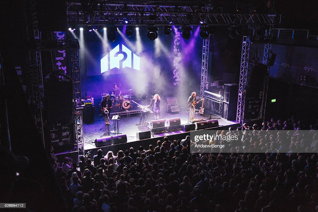 Jack Flanagan, Blaine Harrison and William Rees of Mystery Jets perform at O2 Academy during Live At Leeds on April 30, 2016 in Leeds, England.