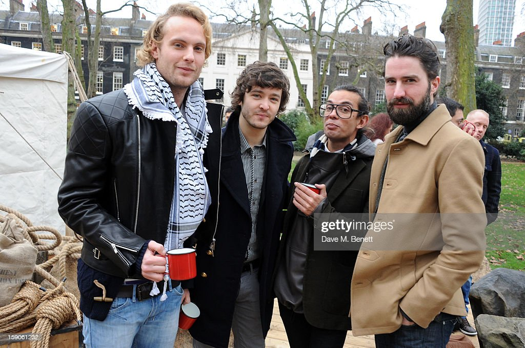 Jack Fox, Alexander Vlahos, Bally designer Michael Herz and Jack Guinness attend the 'BALLY Celebrates 60 Years of Conquering Everest' at Bedford Square Gardens on January 7, 2013 in London, England.