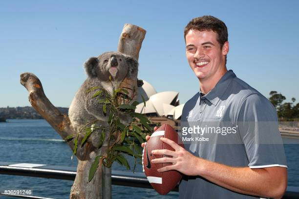 Jack Fox of the Rice Owls poses with Tabbi the koala during the 2017 US College Football Sydney Cup Launch at the Sydney overseas passenger terminal...