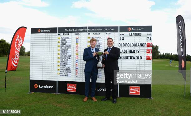 Jack Frances and Nick Boisover of Old Fold Manor Golf Club pose with the Lombard Trophy after winning the PGA Lombard Trophy East Qualifier at Sandy...