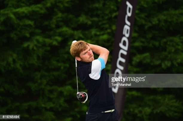Jack Frances of Old Fold Manor Golf Club plays his first shot on the 1st tee during the PGA Lombard Trophy East Qualifier at Sandy Lodge Golf Club on...