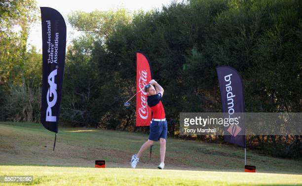 Jack Frances of Old Fold Manor Golf Club plays his first shot on the 1st tee during The Lombard Trophy Final Day One on September 21 2017 in...