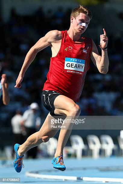 Jack Geary of Queensland competes in the Men's 400 Metre u18 heats during the Australian Junior Athletics Championships at the WA Athletics Stadium...