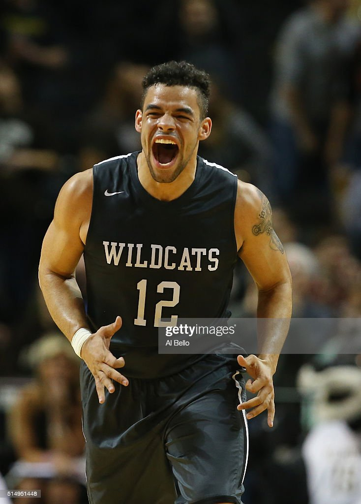 Jack Gibbs of the Davidson Wildcats celebrates a basket against the St Bonaventure Bonnies during the Quarterfinals of the Atlantic 10 Basketball...