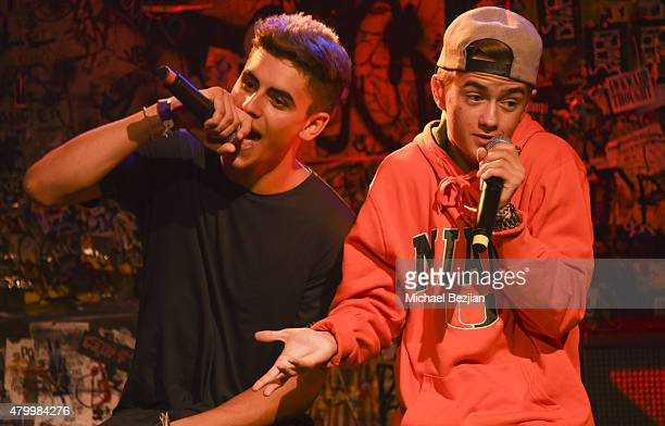 Jack Gilinsky and Jack Johnson of American poprap duo Jack Jack perform at What's Trending Presents Their #AskArtist Series at YouTube Space LA on...