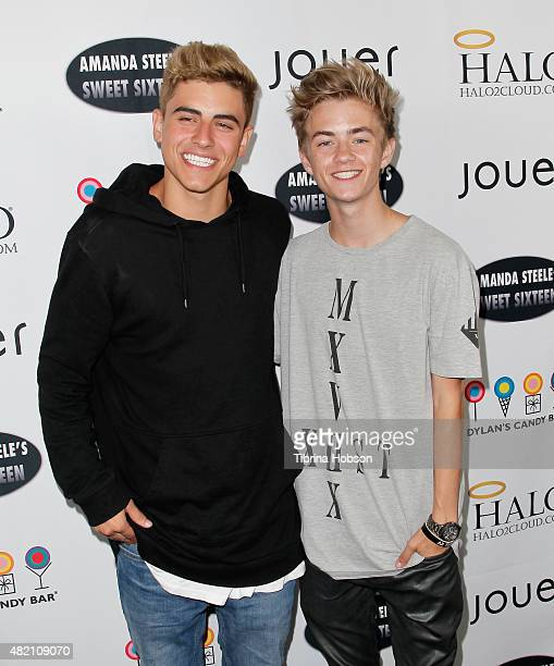 Jack Gilinsky and Jack Johnson of Jack and Jack attend Amanda Steele's sweet 16 party on July 26 2015 in Hollywood California