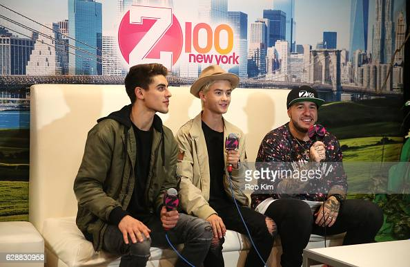 Jack Gilinsky Jack Johnson of the band Jack Jack and Mo' Bounce speak during Z100 CocaCola All Access Lounge at Z100's Jingle Ball 2016 Presented by...