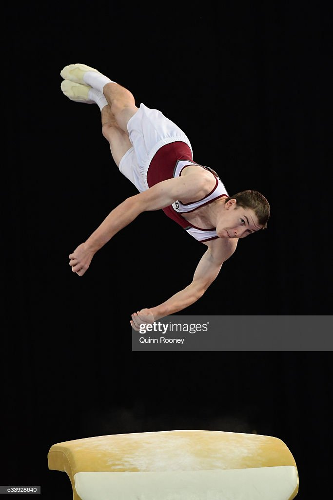 Jack Glendenning of Queensland competes on the vault during the 2016 Australian Gymnastics Championships at Hisense Arena on May 23 2016 in Melbourne...