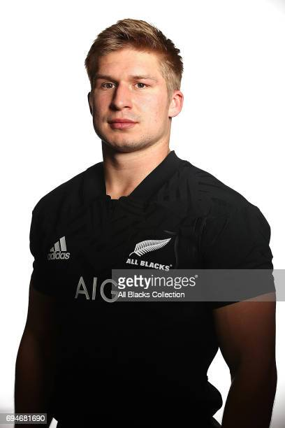 Jack Goodhue during the New Zealand All Blacks Headshots Session on June 11 2017 in Auckland New Zealand