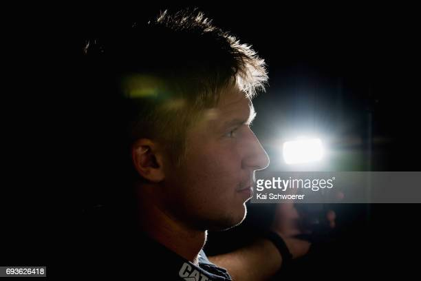 Jack Goodhue looks on during a Crusaders media conference on June 8 2017 in Christchurch New Zealand