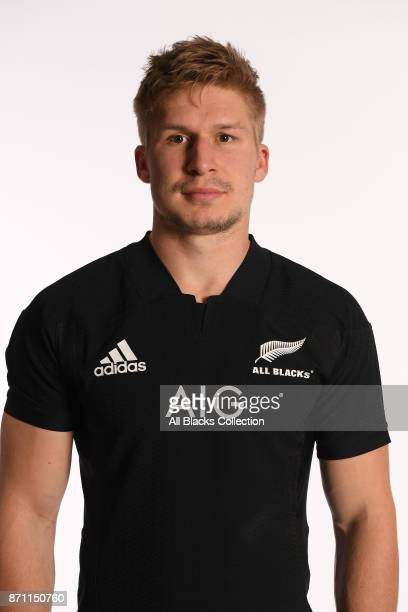 Jack Goodhue of New Zealand poses for a portrait during a New Zealand All Blacks Photocall at the Hotel du Collectionneur on November 6 2017 in Paris...