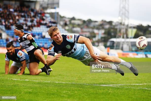 Jack Goodhue of Northland passes the ball out during the round eight Mitre 10 Cup match between Northland and Hawke's Bay at Toll Stadium at Toll...