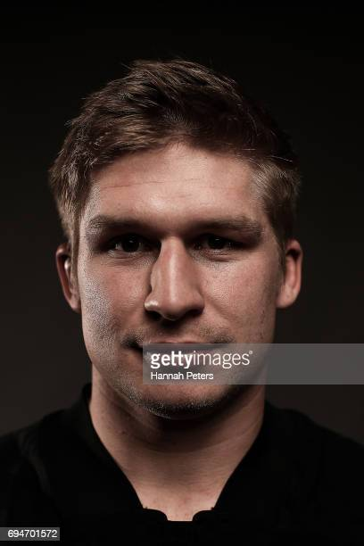 Jack Goodhue poses for a portrait during the New Zealand All Blacks Headshots Session on June 11 2017 in Auckland New Zealand