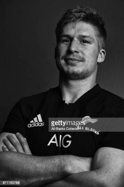 Jack Goodhue poses for a portrait during the New Zealand All Blacks headshots session at L'Hotel du Collectionneur on November 6 2017 in Paris France