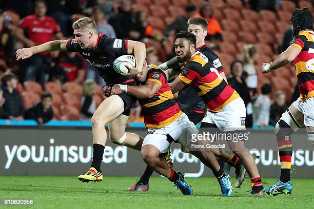 Jack Goodhue takes the ball up for Canterbury during the round seven Mitre 10 Cup match between Waikato and Canterbury on September 28 2016 in...