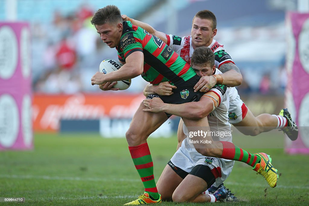 Jack Gosiewski of the Rabbitohs is tackled during the NRL Charity Shield match between the St George Illawarra Dragons and the South Sydney Rabbitohs at ANZ Stadium on February 13, 2016 in Sydney, Australia.