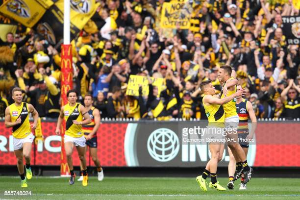 Jack Graham of the Tigers celebrates kicking a goal during the 2017 AFL Grand Final match between the Adelaide Crows and the Richmond Tigers at...