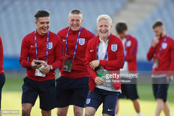 Jack Grealish Jordan Pickford and Will Hughes of England during the English U21 national team walk around at Kielce Arena on June 15 2017 in Kielce...