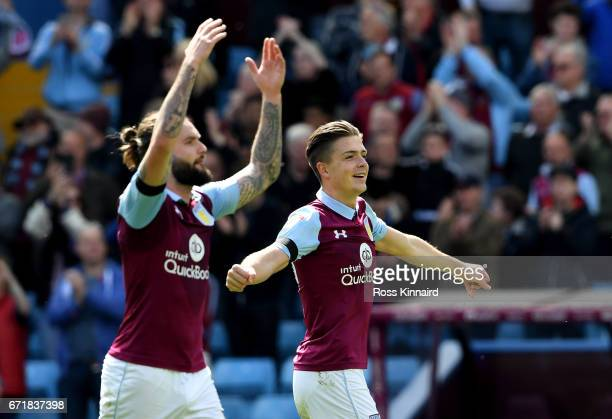 Jack Grealish of Aston Villa celebrates after his side's 10 victory in the Sky Bet Championship match between Aston Villa and Birmingham City at...