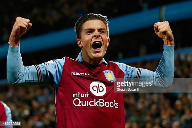 Jack Grealish of Aston Villa celebrates after Rudy Gestede of Aston Villa scored during the Capital One Cup third round match between Aston Villa and...