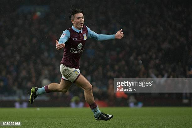Jack Grealish of Aston Villa celebrates after scoring the first goal during the Sky Bet Championship match between Aston Villa and Wigan Athletic at...