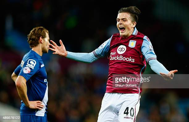 Jack Grealish of Aston Villa celebrates victory during the Capital One Cup third round match between Aston Villa and Birmingham City at Villa Park on...