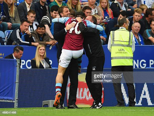Jack Grealish of Aston Villa celebrates with Tim Sherwood manager of Aston Villa and coach Mark Robson as he scores their first goal during the...