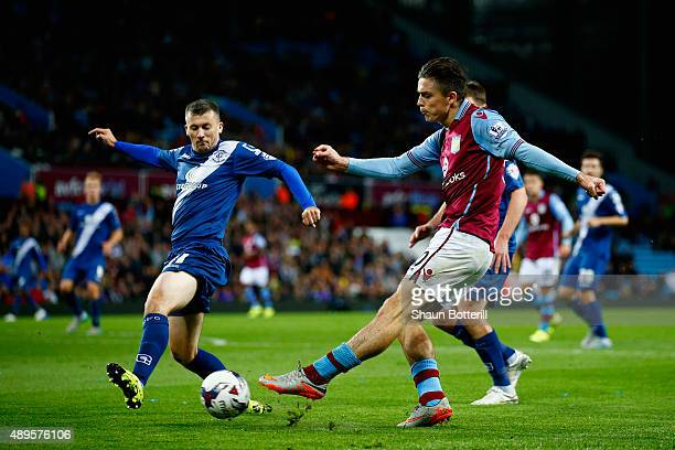 Jack Grealish of Aston Villa crosses the ball during the Capital One Cup third round match between Aston Villa and Birmingham City at Villa Park on...
