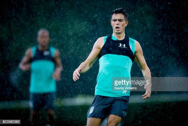 Jack Grealish of Aston Villa during an Aston Villa training session at the club's training camp at Guetersloh on July 25 2017 in Guetersloh Germany