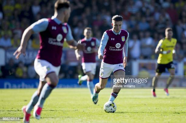 Jack Grealish of Aston Villa during the Sky Bet Championship match between Burton Albion and Aston Villa at the Pirelli Stadium on April 08 2017 in...