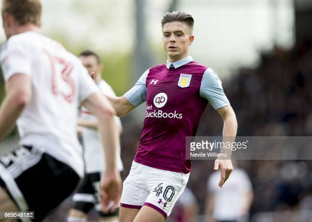 Jack Grealish of Aston Villa during the Sky Bet Championship match between Fulham and Aston Villa at Craven Cottage on April 17 2017 in London England