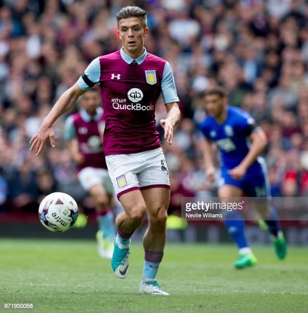 Jack Grealish of Aston Villa during the Sky Bet Championship match between Aston Villa and Birmingham City at Villa Park on April 23 2017 in...