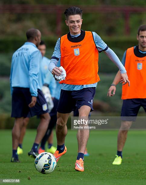 Jack Grealish of Aston Villa in action during a Aston Villa training session at the club's training ground at Bodymoor Heath on October 02 2014 in...