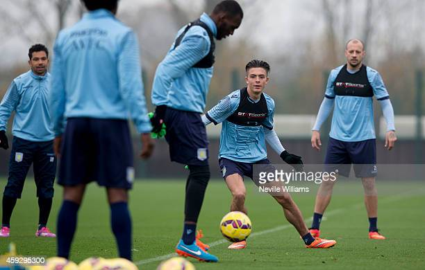 Jack Grealish of Aston Villa in action during a Aston Villa training session at the club's training ground at Bodymoor Heath on November 20 2014 in...