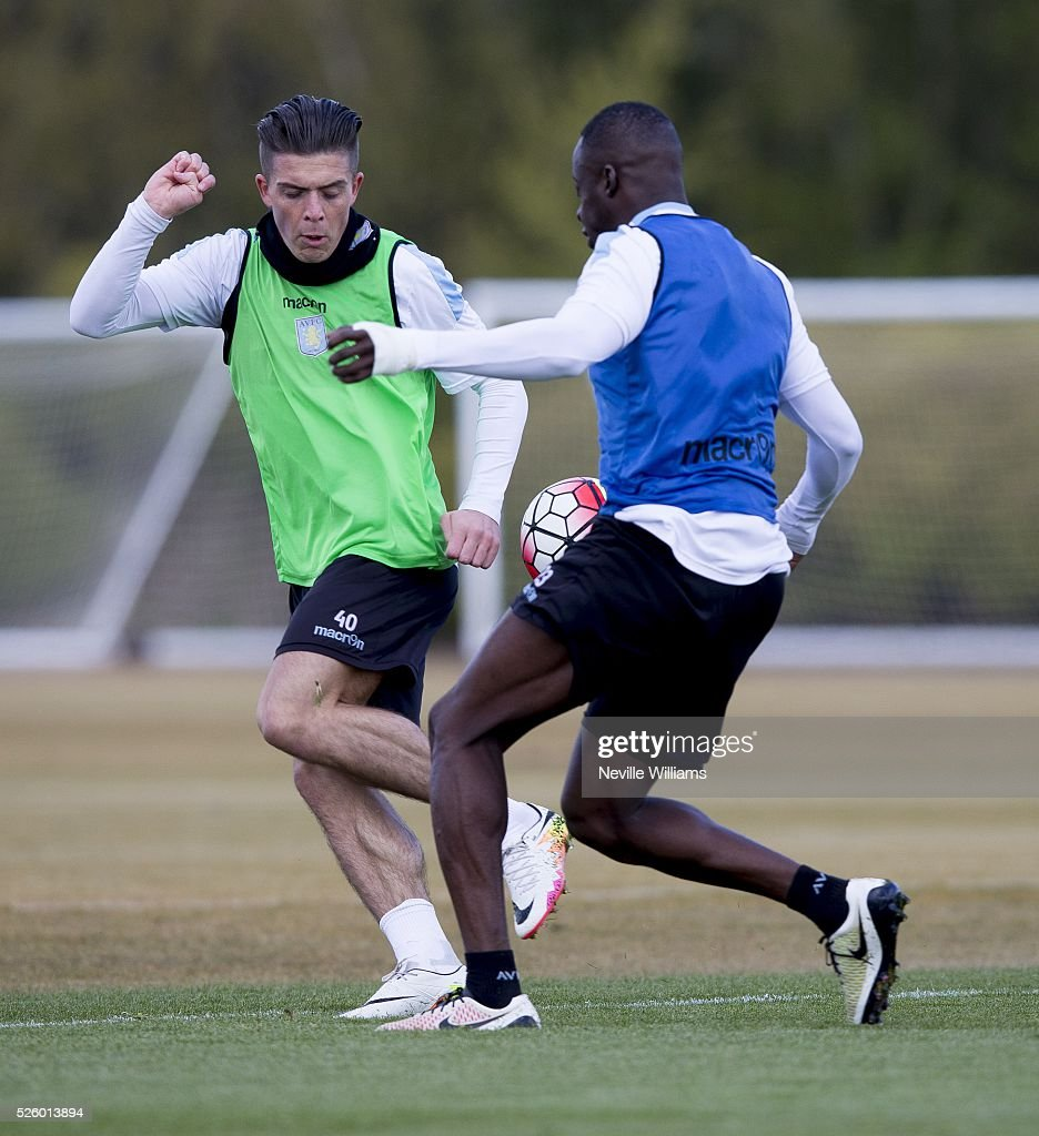 <a gi-track='captionPersonalityLinkClicked' href=/galleries/search?phrase=Jack+Grealish&family=editorial&specificpeople=8936575 ng-click='$event.stopPropagation()'>Jack Grealish</a> of Aston Villa in action during a Aston Villa training session at the club's training ground at Bodymoor Heath on April 29, 2016 in Birmingham, England.