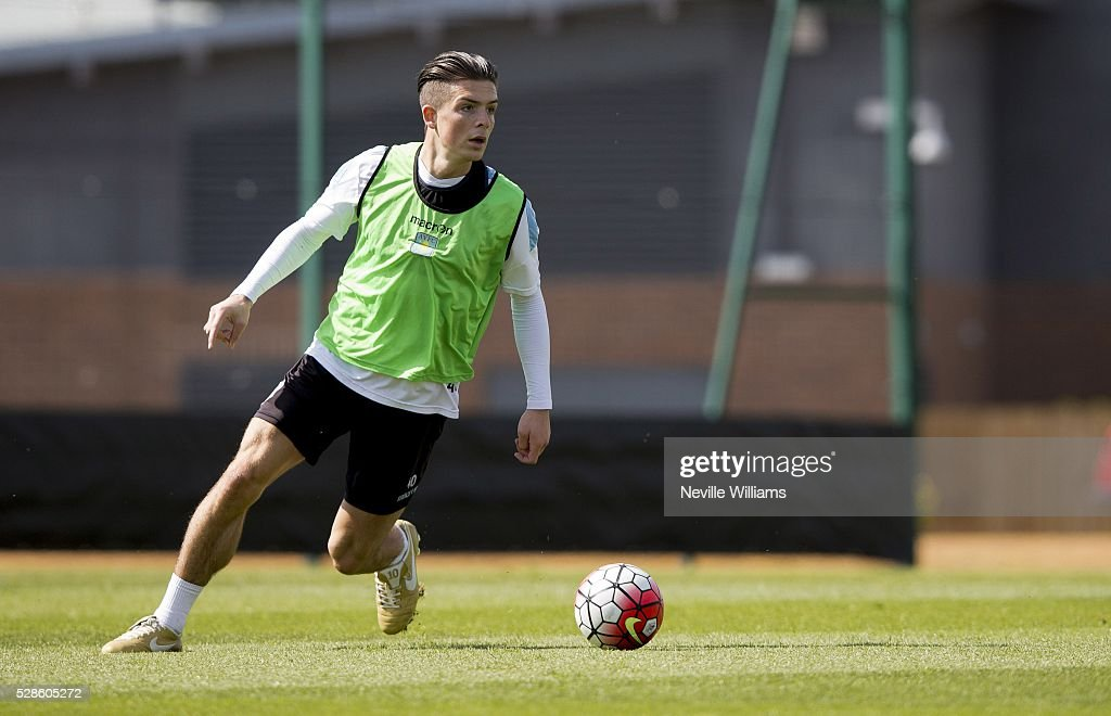 Jack Grealish of Aston Villa in action during a Aston Villa training session at the club's training ground at Bodymoor Heath on May 06, 2016 in Birmingham, England.