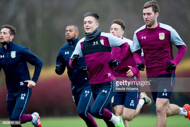 Jack Grealish of Aston Villa in action during a Aston Villa training session at the club's training ground at Bodymoor Heath on February 03 2017 in...