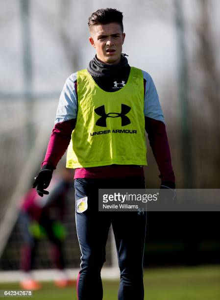 Jack Grealish of Aston Villa in action during a Aston Villa training session at the club's training ground at Bodymoor Heath on February 17 2017 in...