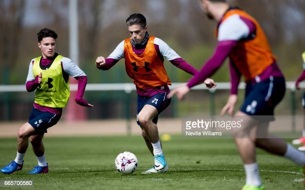 Jack Grealish of Aston Villa in action during a Aston Villa training session at the club's training ground at Bodymoor Heath on April 07 2017 in...