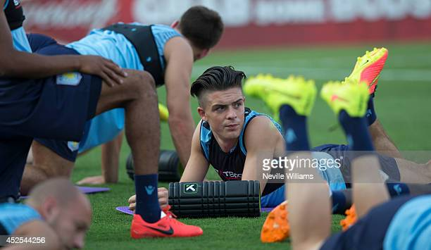 Jack Grealish of Aston Villa in action during a training session as part of their preseason tour of the United States on July 22 2014 in Frisco Texas