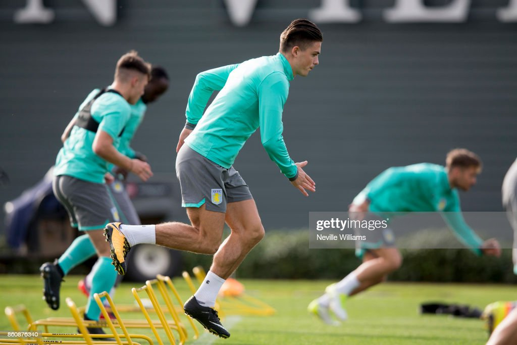 Jack Grealish of Aston Villa in action during a training session at the club's training ground at Bodymoor Heath on October 13, 2017 in Birmingham, England.