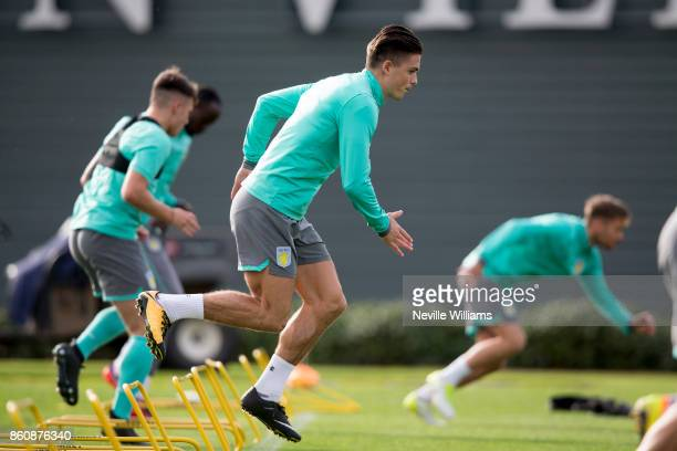 Jack Grealish of Aston Villa in action during a training session at the club's training ground at Bodymoor Heath on October 13 2017 in Birmingham...