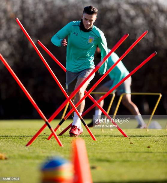 Jack Grealish of Aston Villa in action during a training session at the club's training ground at Bodymoor Heath on November 24 2017 in Birmingham...