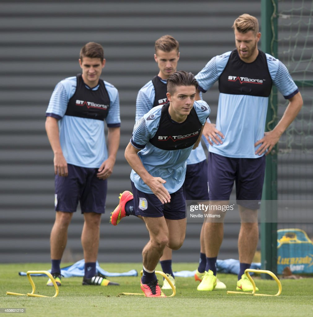 Jack Grealish of Aston Villa in action during an Aston Villa training session at the club's training ground at Bodymoor Heath on August 14, 2014 in Birmingham, England.