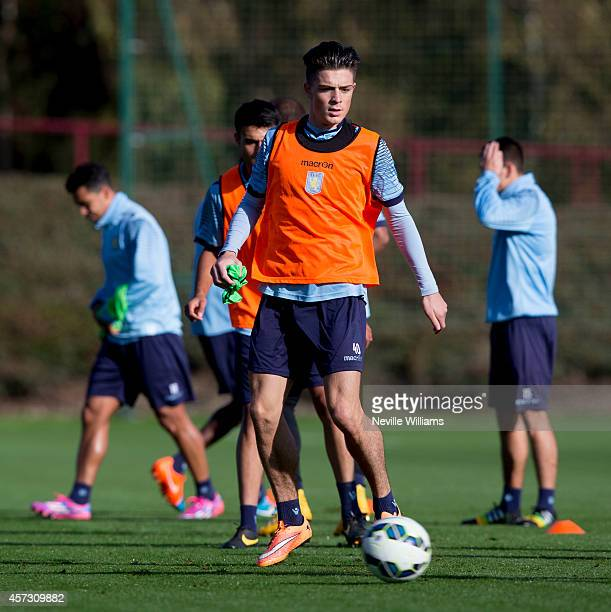 Jack Grealish of Aston Villa in action during an Aston Villa training session at the club's training ground at Bodymoor Heath on October 16 2014 in...