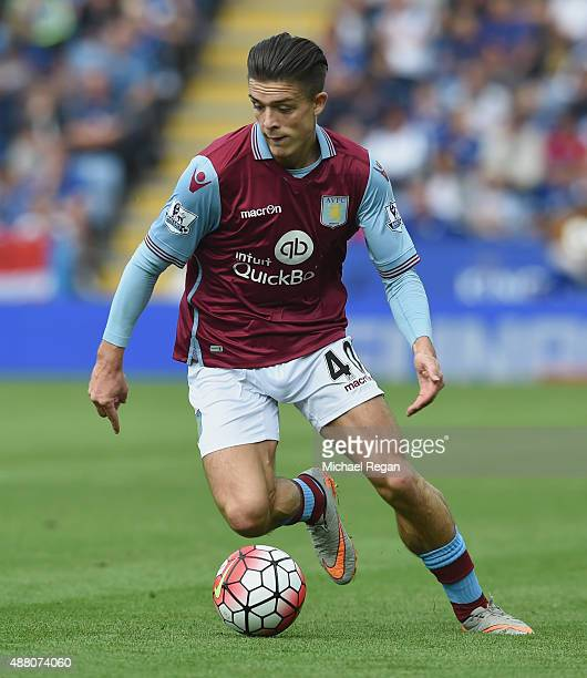 Jack Grealish of Aston Villa in action during the Barclays Premier League match between Leicester City and Aston Villa on September 13 2015 in...
